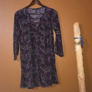 American Eagle Purple Paisley 3/4 Sleeve Dress